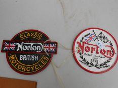 2 Norton M/C Plaques