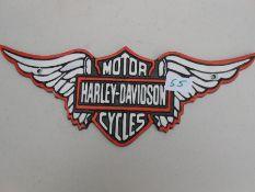 L. Harley Davidson wings plaque