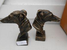 2 cast Greyhound heads