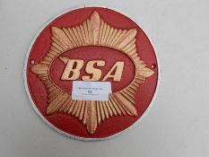 BSA Motorcycle plaque red
