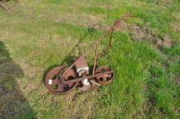 Vintage hand push seed drill with spare components
