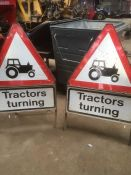 2x Tractor turning road warning signs