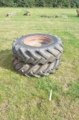 A pair of rear tractor wheels