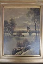 Oil on board depicting night river scene and barge framed 50 x 62cm