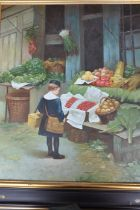 Oil on canvas depicting young boy looking at vegetable store, framed 69 x 79cm unsigned