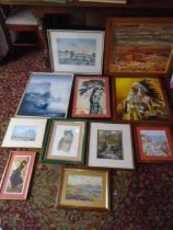 quantity of framed pictures to include prints, watercolours oils