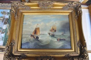 AFTER G A NAPIER (British, 19th century); a colour lithographic print on canvas, fishing vessels and