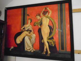 Pompeii villa of mysteries, scenes of initiation oil on canvas. no signature. 110x84cm