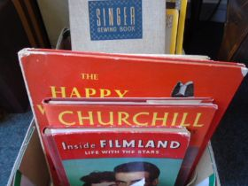 A box of around 19 books to include books on Winston Churchill and film stars from Hollywood's