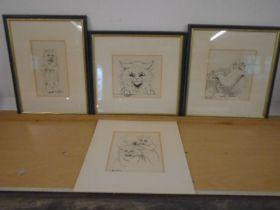 Louis Wain cat prints x 4