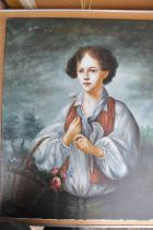oil on canvas portrait of a boy with flower basket signed bottom right L. Williams unframed 51.5 x