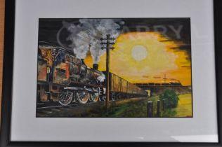 J Burton, watercolour goods steam trains at dusk framed 50 x 38 cm