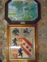 Arthur Wilkinson oil print 'picking flowers' and stitchwork of heraldic shield
