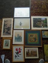 Oriental/ Apache style quantity of framed pictures to include prints, watercolours etc