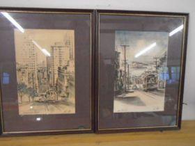 Alex Stern prints x 2 'Hyde street hill' and 'California street canyon'