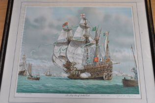 After Mark R Myers RSMA - a pair of pictures of The Ark Royal engages the Spanish Flagship 70.5 x