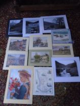 quantity of mounted prints