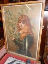 Antique Print of Girl 21 x 14 inches