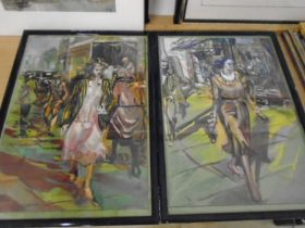 J.P Lambert african art pictures x 2 and a watercolour of a building