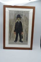 AFTER LAURENCE STEPHEN LOWRY (1887-1976). A solitary figure standing in black suit, bears