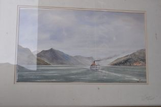 Guy Todd watercolour of lakeland scene with steam boat. framed, 62 x 44 cm