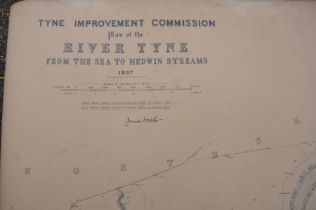 Vintage 6 inch (scale) map of the River Tyne 'wreck chart' dated 1907, very large map not under