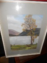 D Hart Watercolour Ullswater 22 x 28 cm and Dereck Green Watercolour Church and River 37 x 26 cm