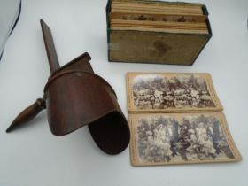 A Victorian Stereoscope viewer a/f with a collection of 36 different Stereoscopic cards all late
