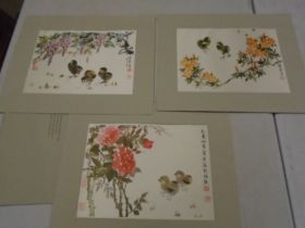 silk prints, reproduced from water colour artist Chein-ying Chang from 'family circle' magazine,