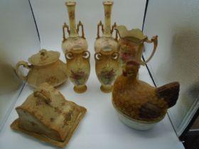 pair of jugs, cheese dish, jug, handled pot and hen crock