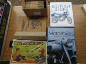 mixed books - vintage ladybird books, meccano instructions book, folder of aeroplane magazines and 2