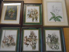Oil on board of flowers in vase, set of 4 prints, a watercolour