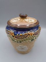 """Doulton stoneware lidded pot, lid is cracked6"""" tall"""