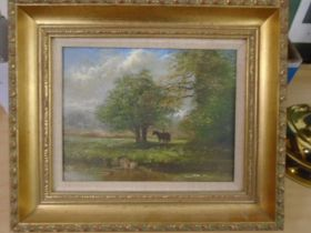 J. Mace contemporary oil on board 'Attleborough evening' a horse resting under a tree in pasture,