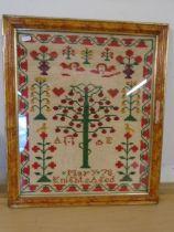 Adam and Eve sampler, framed