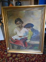 Oil on canvas depicting lady and boy 58cm x 48cm. signed