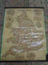 Bacons popular map of England and Wales showing railways, rolled a/f