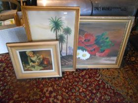 Signed oil on board depicting flowers 49cm x 69cm, plus two prints