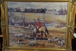 British School, a landscape scene with a hunt master with hounds in front of country house,