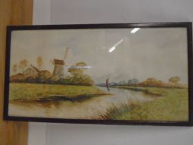 H. Storie watercolour of a windmill