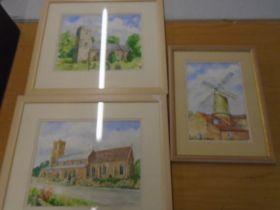Derek Harris watercolours x 3, a windmill and 2 churches