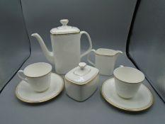 Royal Doulton Gold Concord china coffee service incl pot, milk jug, sugar bowl, 2x cups and saucers