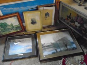job lot of framed pictures, mixed media