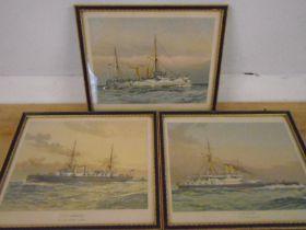 W.F Mitchell, 3 antique original chromolithographs 1890 of Royal navy battleships: HMS Victoria, HMS