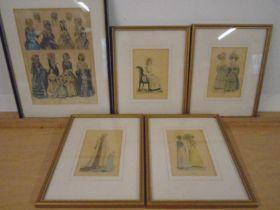 5 antique fashion prints, framed and glazed