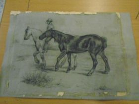 Charcoal sketch of horses, no frame