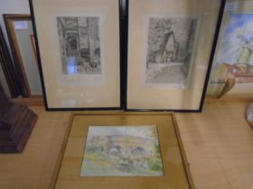 G A Raby etchings x2 Strangers Hall Courtyard and Elm Hill plus a watercolour