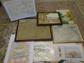 few prints, oil painting, maps and prints