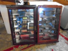 2 mirrored display cases and 2 wall shelves