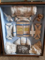 """Horrockses miller and co display of cotton types in boxed frame, no front 19x23"""""""